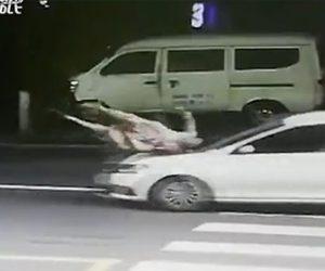 【動画】横断歩道を渡る女性が猛スピードの車にはね飛ばされてしまう衝撃事故映像
