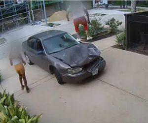 【動画】事故で曲がった車のボンネットをジャンプして踏んで直す男性
