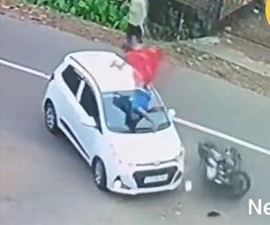 【動画】右折する車に猛スピードのバイクが突っ込むが…