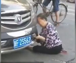 【動画】当たり屋の女が止まっている車に頭をガンガン当てまくる衝撃映像