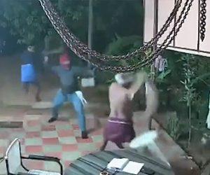 【動画】鎌を持った強盗2人VS椅子を振り回す夫婦。激しく戦う衝撃映像