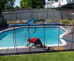 【動画】プールで死んだリスを片付けようした男性に悲劇が…