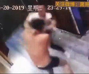 【動画】上半身裸のナイフを持った男が男性に襲いかかり男性は必死に抵抗するが…