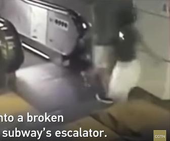【動画】エスカレーター前に床が抜け女性が落下してしまう衝撃映像