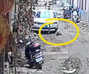 【動画】車の前で泥遊びをする少女を祖父が車で轢いてしまう衝撃映像