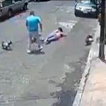 【動画】リードを付けて犬を散歩している女性に放し飼いで犬を散歩する男が…
