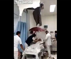 【動画】病院の屋根が壊れ入院患者に大量の雨水が降ってくる衝撃映像