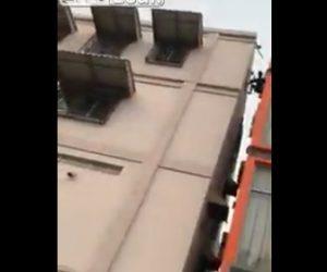 【動画】泥棒がビルの屋上からパルクールのように必死に逃げるが…