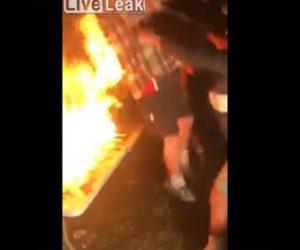 【動画】パーティーで盛り上がり火がついたテーブルに男性が飛び込むが…