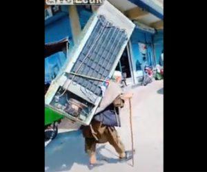 【動画】大きな冷蔵庫を背負って運ぶおじいさんが凄すぎる衝撃映像