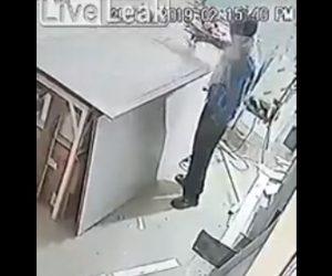 【動画】ディスクグラインダー(電動工具)が突然飛び跳ね作業員に飛んでくる衝撃映像