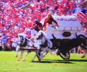 【動画】アメフトの試合でハーフタイムショーでフィールドに入ってきた馬車が横転してしまう衝撃事故