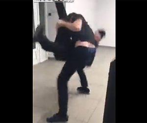 【動画】モバイルショップの店員と客が激しい戦い。頭突きを食らった店員は…