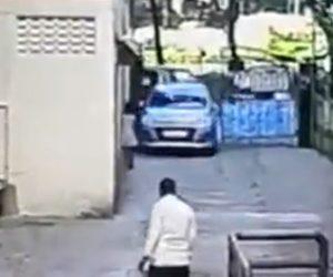 【動画】車が細い路地を暴走。少女が車と壁に挟まれてしまう衝撃事故映像