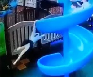 【動画】少女が回転滑り台から落下してしまう衝撃映像