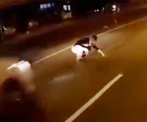 【動画】車道でうずくまる酔っ払い男性が猛スピードの車にはね飛ばされる衝撃事故映像