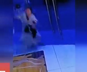 【動画】女性がガラスドアに気付かず突っ込んでしまう衝撃映像