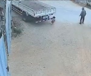 【動画】おじいさんが子供がトラックに轢かれるのを何もせず見ている衝撃映像