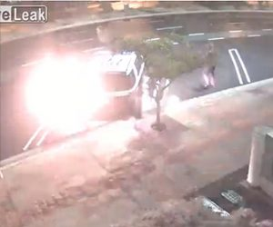 【動画】男が駐車しているSUV車に燃料をかけ放火する衝撃映像