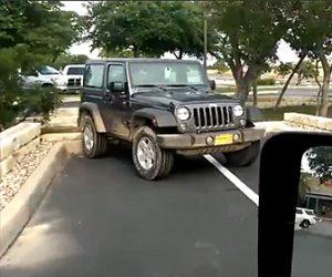 【動画】駐車場でラインにまたがり駐車していた車に男が衝撃の行動