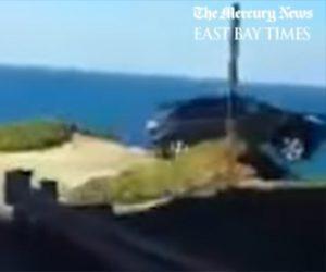 【動画】猛スピードの車が崖から落下してしまう衝撃事故映像