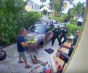 【動画】女性の叫び声がすると隣人が警察官を呼ぶが…