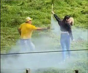 【動画】巨大ロケット花火に火を付けるが少女が手を放さず…