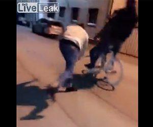 【動画】2人乗り自転車の車輪に長い棒を差し込み転倒させる衝撃映像