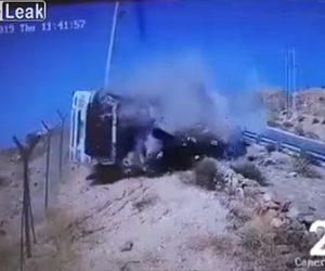 【動画】大型トラックがスピードを出し過ぎカーブした坂道でガードレールを突き破り転落する衝撃映像