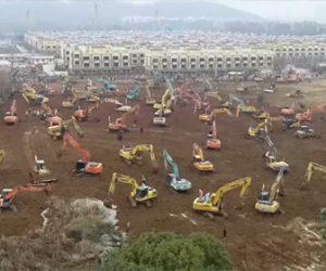 【動画】新型コロナウイルスを治療する為、10日間で病院を建設する中国の建設現場が凄い!