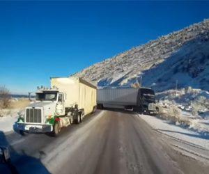 【動画】アイスバーンで反対車線にはみ出したトラックを必死に避ける衝撃映像