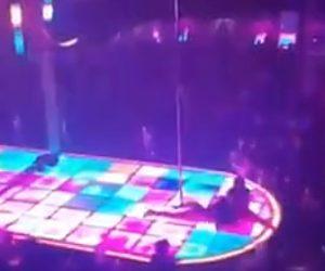 【動画】ポールダンサーがポールから落下してしまうが…