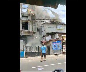 【動画】2人の作業員が3階建ての建物を出た数秒後に建物が崩壊する衝撃映像