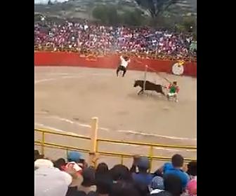 【動画】突進してくる暴れ牛をシーソーを使って避ける男性2人が凄い!