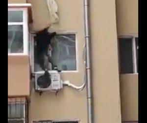 【閲覧注意動画】周りの人達が止めるが男性が4階窓から落下してしまう衝撃事故映像