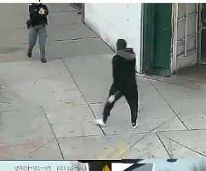 【閲覧注意動画】必死に逃げるナイフを持った武装強盗が警察官に囲まれ警察官に向かって行くが…