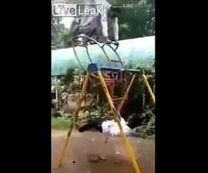 【動画】インドの公園遊具が危険。勢いをつけすぎ男性が支柱に激突してしまう衝撃位映像