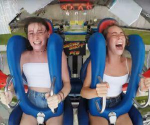【動画】美少女2人が絶叫マシン(スリングショット)に乗るが恐怖のあまり…