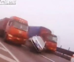 【動画】濃霧で視界が悪い道で停車している車に大型トラックが突っ込んでしまう衝撃映像