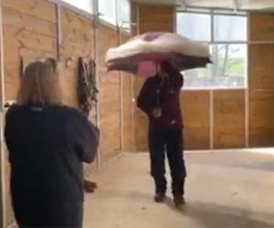 【動画】新型コロナウイルス対策の傘が凄い。人が近づいた瞬間…