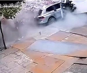 【動画】レンガと積んだトラックが大型トラックに突っ込み横を走る車が…