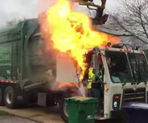 【動画】ごみ収集車が作業中に油圧ホース破損し炎上してしまう衝撃映像