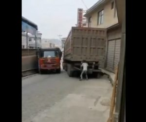 【怪力】男性が大型トラックを押して横に動かし狭い道を通る衝撃映像