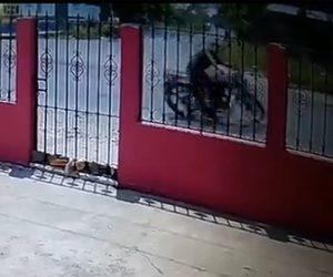 【事故】猛スピードのバイクがT字路を曲がり切れず壁に突っ込んでくる衝撃事故映像