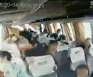 【事故】猛スピードのバスがコントロールを失い道から転落する車載カメラ映像が凄すぎる【衝撃映像】