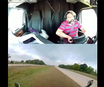 【事故】トラック運転手が居眠り運転し横転。車内を映した車載カメラ映像が凄い。