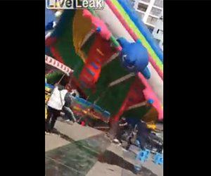 【衝撃】子供達が大勢遊んでいるエア遊具が強風でひっくり返ってしまう衝撃映像