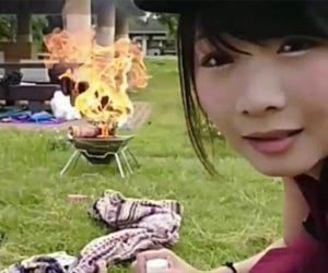 【大炎上】ニコニコ生放送の女性配信者、キャンプ配信中にガスボンベが爆発する衝撃映像