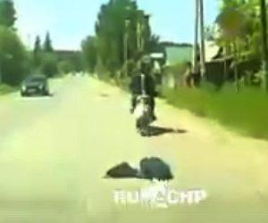 【動画】男性がバイクで走行中、荷物が落ち後ろを振り向くが…衝撃事故映像