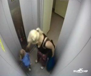 【暴行】エレベーター内で母親が娘に暴行。娘の顔に強烈なビンタをする衝撃映像